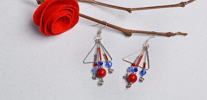 DIY Wire Triangle and Glass Beaded Dangle Earrings - Carol\'s Crafts ...